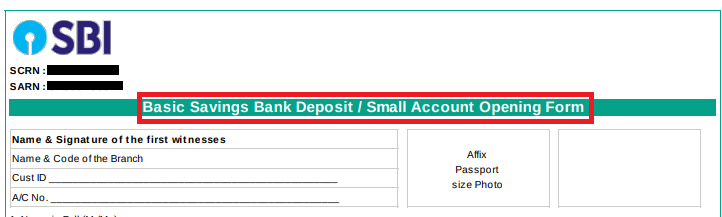 Bank form opening saving account pdf sbi