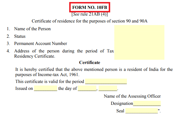 'How to Get India's Tax Resident Certificate in Form 10FB'